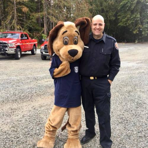 Firefighter and Diesel the Fire Dog